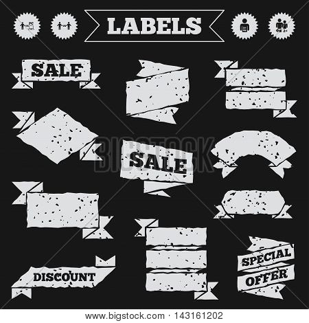 Stickers, tags and banners with grunge. Gamer icons. Board and PC games players signs. Player vs PC symbol. Sale or discount labels. Vector
