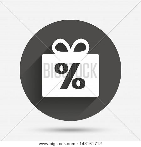 Gift box sign discount icon. Present symbol. Circle flat button with shadow. Vector