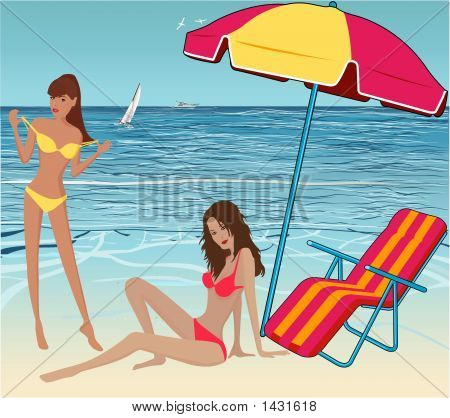 Beautiful Sexy Girls am Strand-Vektor-Illustration
