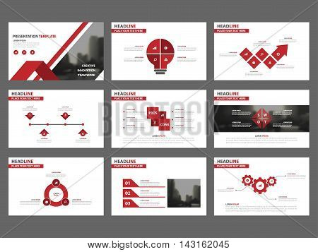 Red Abstract presentation templates Infographic elements template flat design set for annual report brochure flyer leaflet marketing advertising banner template