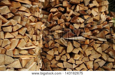 Round wood piles texture background stock photo