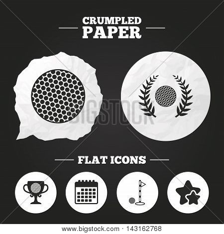Crumpled paper speech bubble. Golf ball icons. Laurel wreath winner award cup sign. Luxury sport symbol. Paper button. Vector