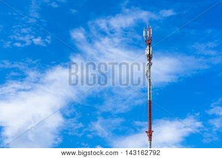 Communication antenna tower wireless technology with blue sky