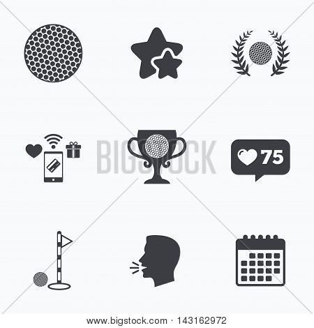 Golf ball icons. Laurel wreath winner award cup sign. Luxury sport symbol. Flat talking head, calendar icons. Stars, like counter icons. Vector