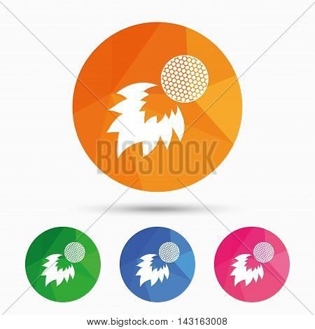 Golf fireball sign icon. Sport symbol. Triangular low poly button with flat icon. Vector