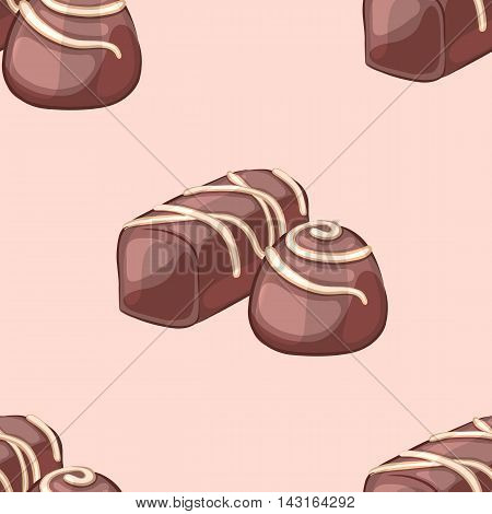 Chocolate candy frosting. A cartoon vector illustration. Seamless pattern.
