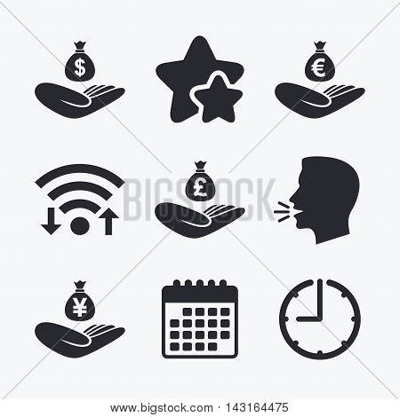 Helping hands icons. Money insurance symbols. Hand holds cash bag in Dollars, Euro, Pounds and Yen signs. Wifi internet, favorite stars, calendar and clock. Talking head. Vector