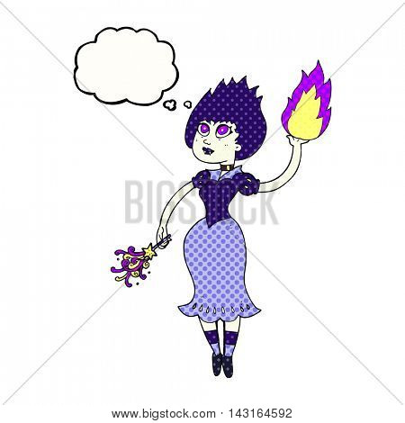 freehand drawn thought bubble cartoon vampire girl casting fireball