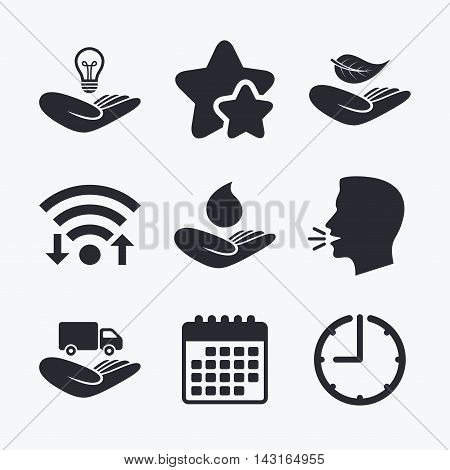 Helping hands icons. Intellectual property insurance symbol. Delivery truck sign. Save nature leaf and water drop. Wifi internet, favorite stars, calendar and clock. Talking head. Vector