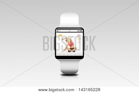 modern technology, sport, object and media concept - illustration of black smart watch with fitness app on screen over gray background