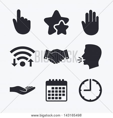 Hand icons. Handshake successful business symbol. Click here press sign. Human helping donation hand. Wifi internet, favorite stars, calendar and clock. Talking head. Vector