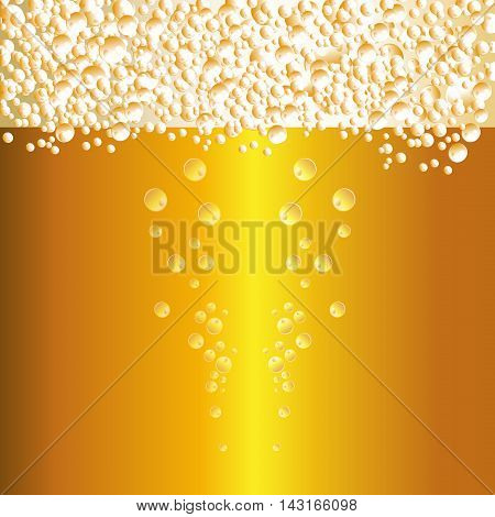 Water drops on beer background vector. Fresh texture foam drop beer background beverage golden cold drink. Abstract cool bright liquid beer background clear transparent refreshing brewery.