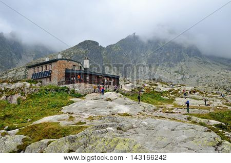 HIGH TATRA SLOVAKIA - AUGUST 19 2015: Mountain chalet. High-mountain hostel called Teryho Chata in the valley of the Five Spis Lakes in Tatra mountains Slovakia.