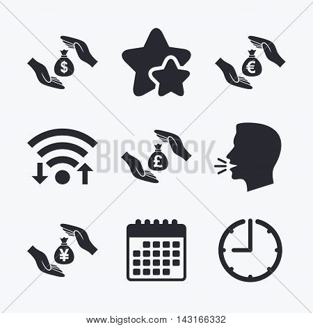 Hands insurance icons. Money bag savings insurance symbols. Hands protect cash. Currency in dollars, yen, pounds and euro signs. Wifi internet, favorite stars, calendar and clock. Talking head. Vector