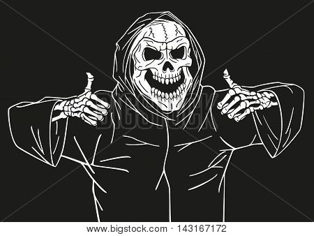 Dead man smiling and showing a gesture that he was pleased.