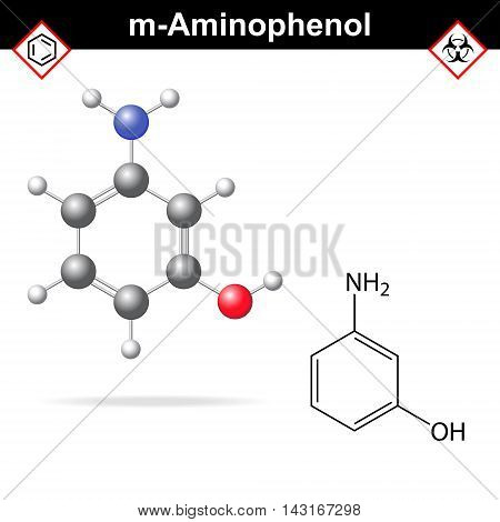 Meta aminophenol chemical structure and model 2d and 3d vector illustration eps 8