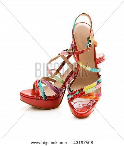 Red summer shoes on a white background