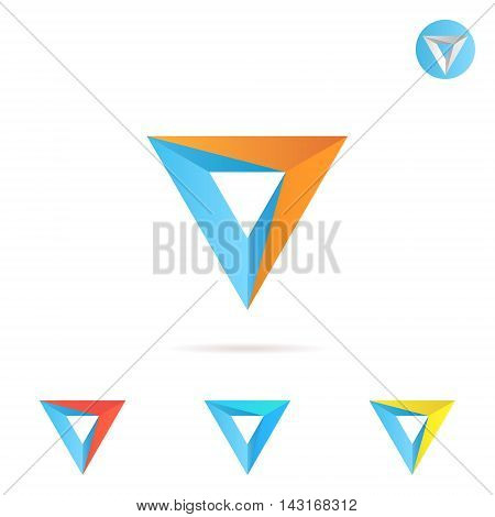 Delta letter with arrow triangle shape color variations 3d illustration vector icon on white background eps 10
