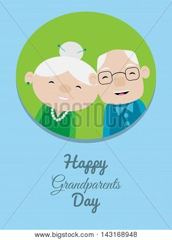 Grandparents day card with smiling grandma and grandpa on blue background
