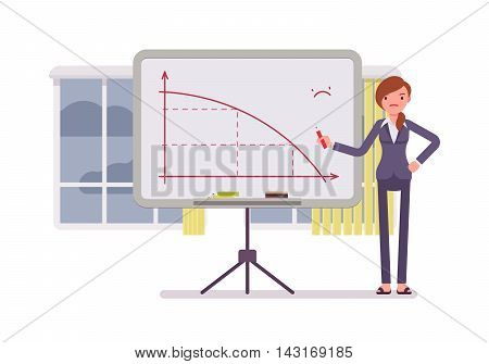 Woman in a formal wear drew a negative graph on the whiteboard. Cartoon vector flat-style concept illustration