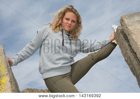 Summer Fashion Gorgeous Sensual Blonde Woman With Legs Up