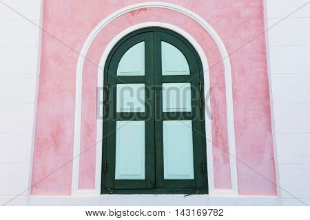 Classic Wooden Window On Pink Wall
