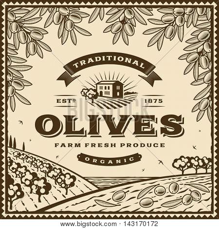 Vintage brown olives label