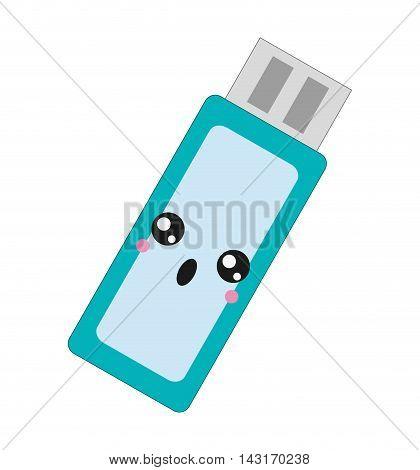 flat design kawaii usb flash drive icon vector illustration