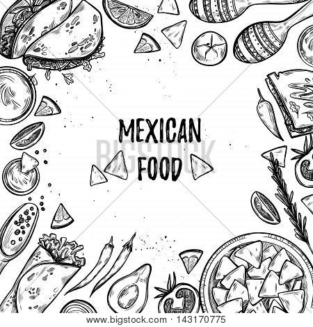 Hand Drawn Vector Illustrations - Mexican Food (tacos, Nachos, Burritos, Chili Pepper, Avocado, Sauc