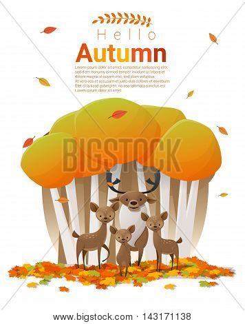 Hello autumn background with deers , vector , illustration