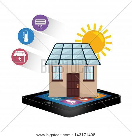tablet solar panel smart house home technology app icon set. Flat and Colorful illustration. Vector illustration
