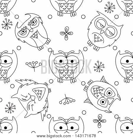 Vector seamless pattern with cute owls. Cartoon owls monochrome print for your design.