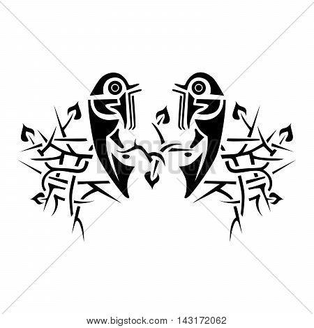 Black birds looking at each other sitting on the branches of a tree. Black and white hand drawn doodle illustration. African totem tattoo design poster print or t-shirt.