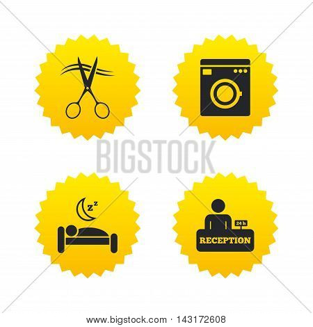 Hotel services icons. Washing machine or laundry sign. Hairdresser or barbershop symbol. Reception registration table. Quiet sleep. Yellow stars labels with flat icons. Vector