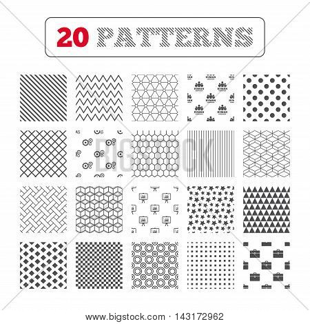 Ornament patterns, diagonal stripes and stars. Human resources and Business icons. Presentation board with charts signs. Case and gear symbols. Geometric textures. Vector