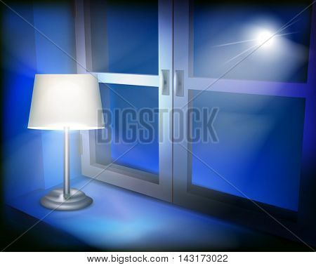 Lamp in the window. Vector illustration.