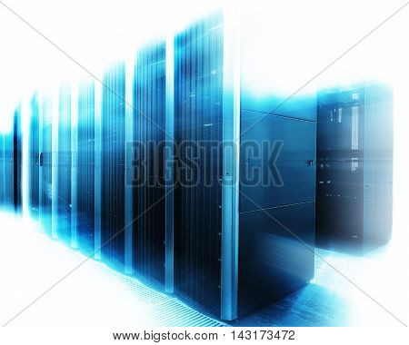 server room with modern equipment in data center