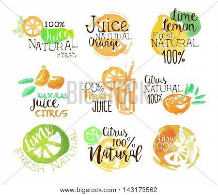 Natural Citrus Juice Promo Signs Colorful Set Of Watercolor Stylized Logo With Text On White Background