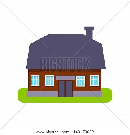 One Floor Large Suburban House Exterior Design Primitive Geometric Flat Vector Drawing Isolated On White Background