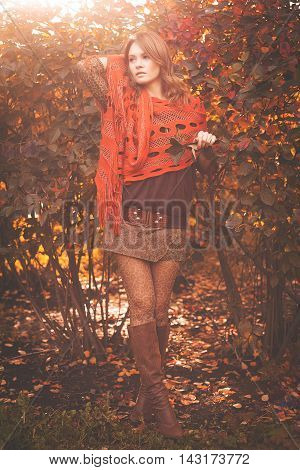 Portrait of beautiful young fashion woman outdoors