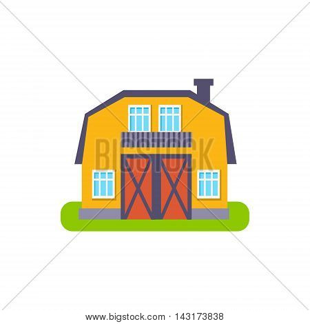 Yellow Barn Suburban House Exterior Design Primitive Geometric Flat Vector Drawing Isolated On White Background