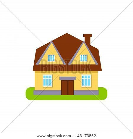 Four Window Suburban House Exterior Design Primitive Geometric Flat Vector Drawing Isolated On White Background