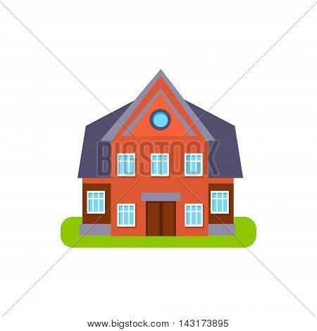 Family Cotage Suburban House Exterior Design Primitive Geometric Flat Vector Drawing Isolated On White Background
