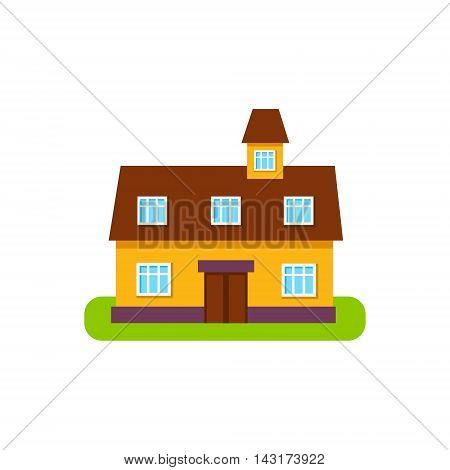 Suburban House Exterior Design With Attic Storey Primitive Geometric Flat Vector Drawing Isolated On White Background