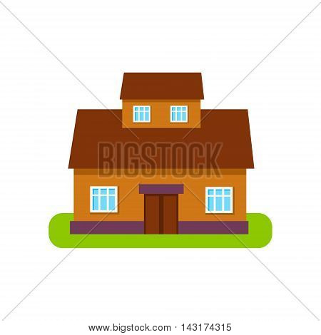 Brown Suburban House Exterior Design With Attic Storey Primitive Geometric Flat Vector Drawing Isolated On White Background