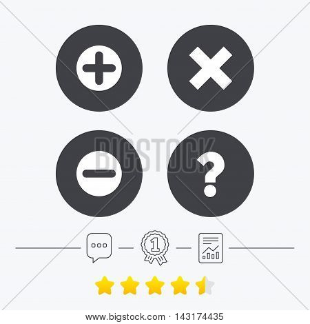 Plus and minus icons. Delete and question FAQ mark signs. Enlarge zoom symbol. Chat, award medal and report linear icons. Star vote ranking. Vector