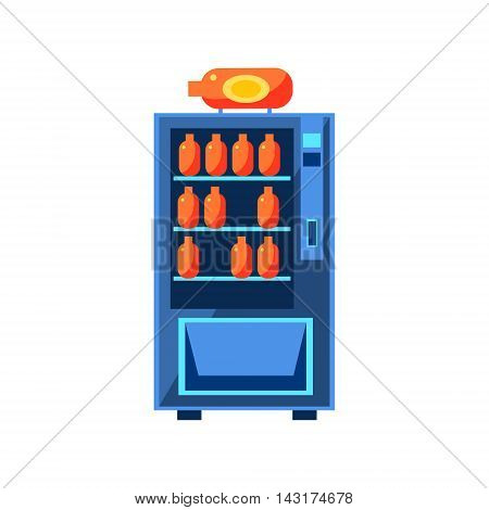 Soft Drink Vending Machine Design In Primitive Bright Cartoon Flat Vector Style Isolated On White Background