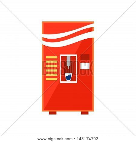 Cold Drinks Vending Machine Design In Primitive Bright Cartoon Flat Vector Style Isolated On White Background