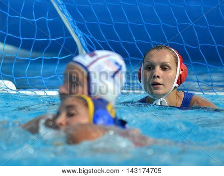 Budapest, Hungary - Jul 16, 2014. Focus on KARNAUKH Anna (RUS, 13) the russian goalkeeper. The Waterpolo European Championship was held in Alfred Hajos Swimming Centre in 2014.