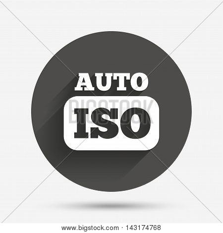 ISO Auto photo camera sign icon. Settings symbol. Circle flat button with shadow. Vector